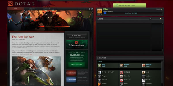Screenshot de l'interface du lobby de Dota 2