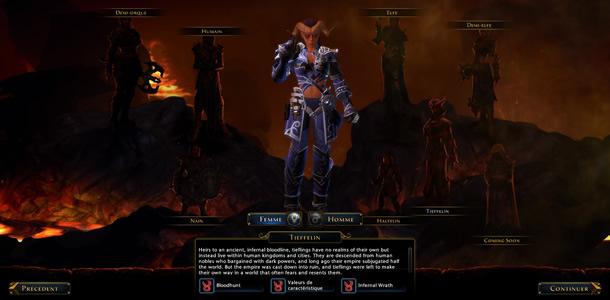 Sélection du personnage dans Neverwinter Online